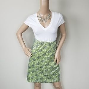 LIME AND GRAY TEXTURED STRETCH SKIRT SIZE LARGE